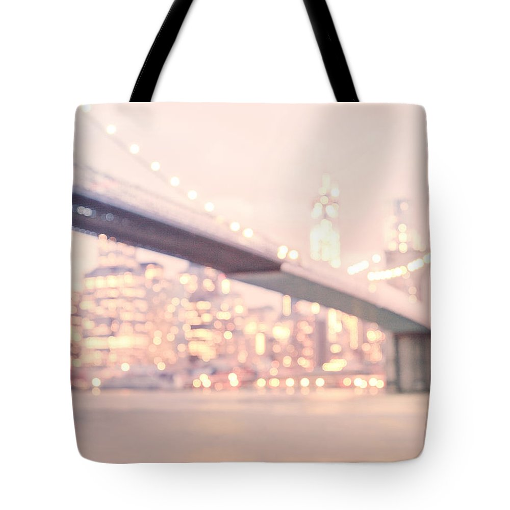 New York Tote Bag featuring the photograph New York City - Lights At Night by Vivienne Gucwa