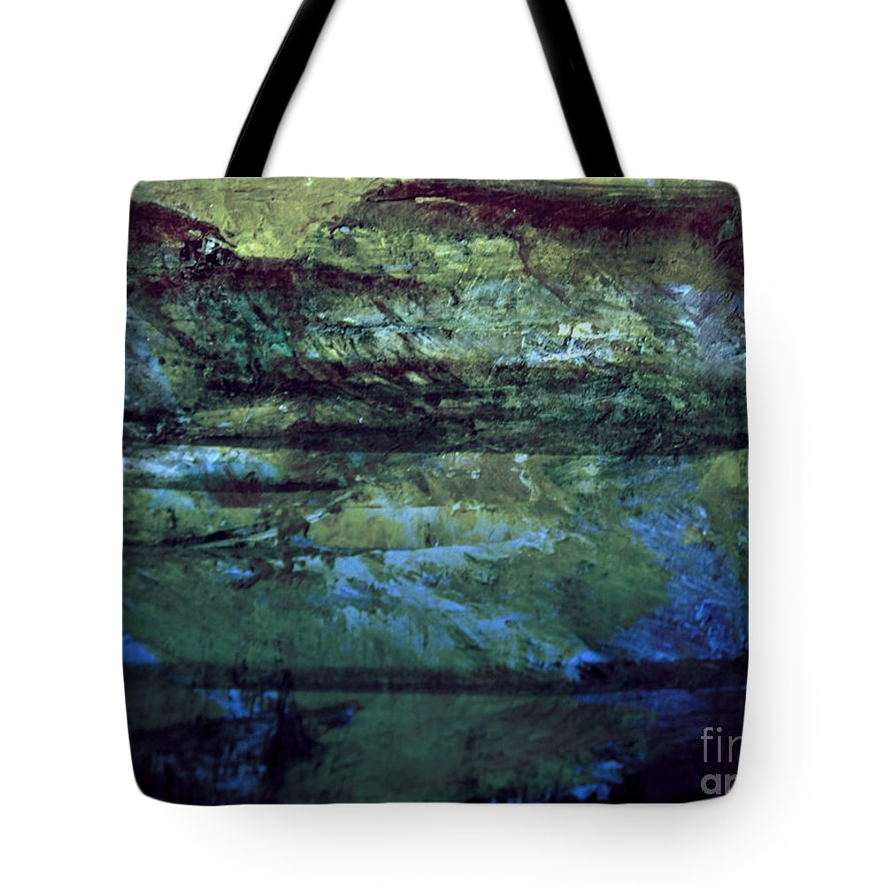 Abstract Acrylic Mountain Landscape Tote Bag featuring the digital art Night Lights by Nancy Kane Chapman