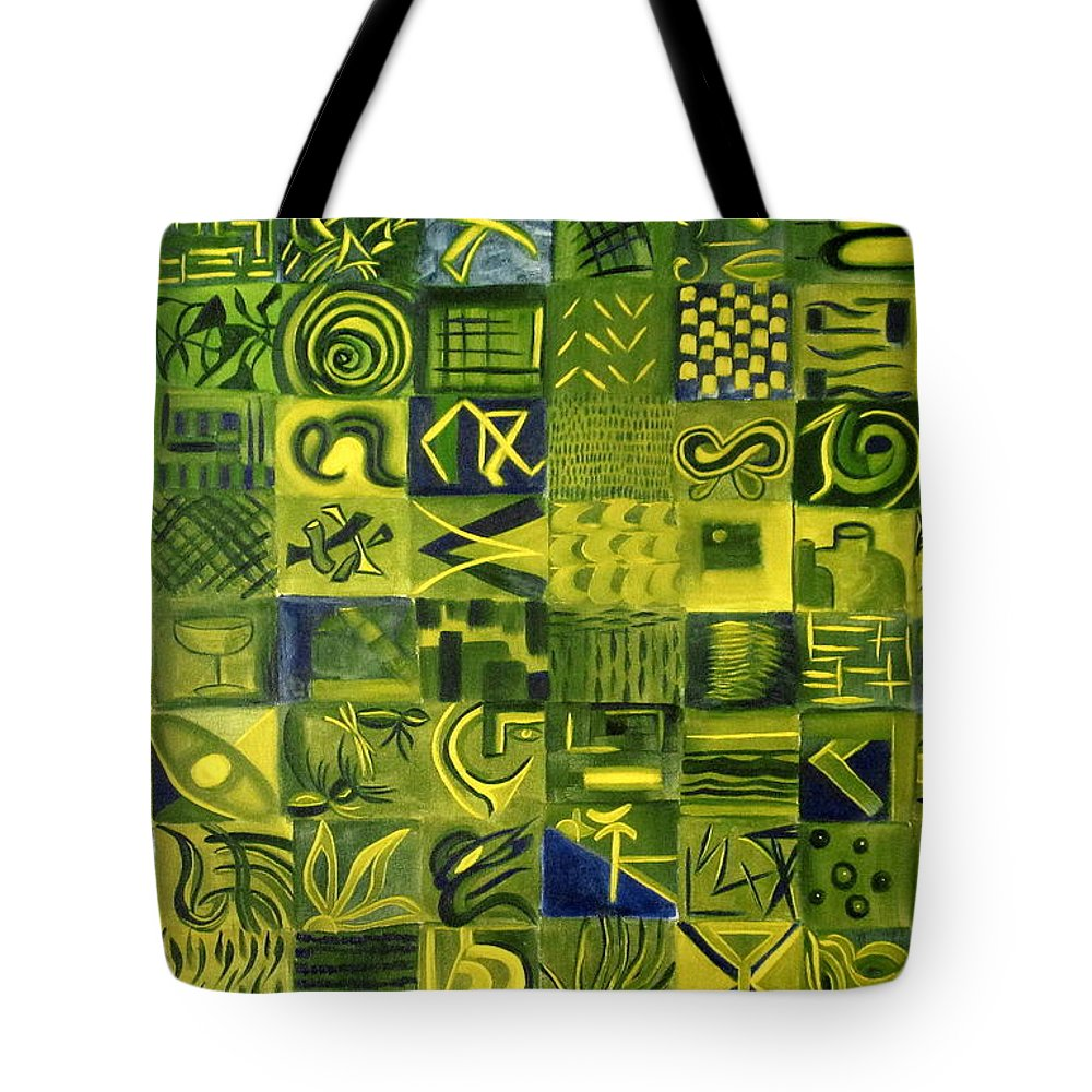 Green Tote Bag featuring the painting Night On The Lawn by Patricia Cleasby