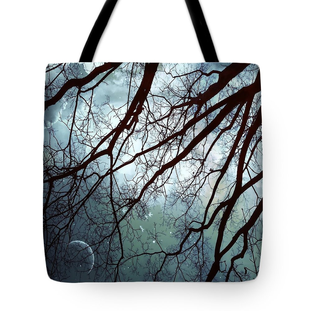 Night Sky Tote Bag featuring the photograph Night Sky In The Woods by Marianna Mills