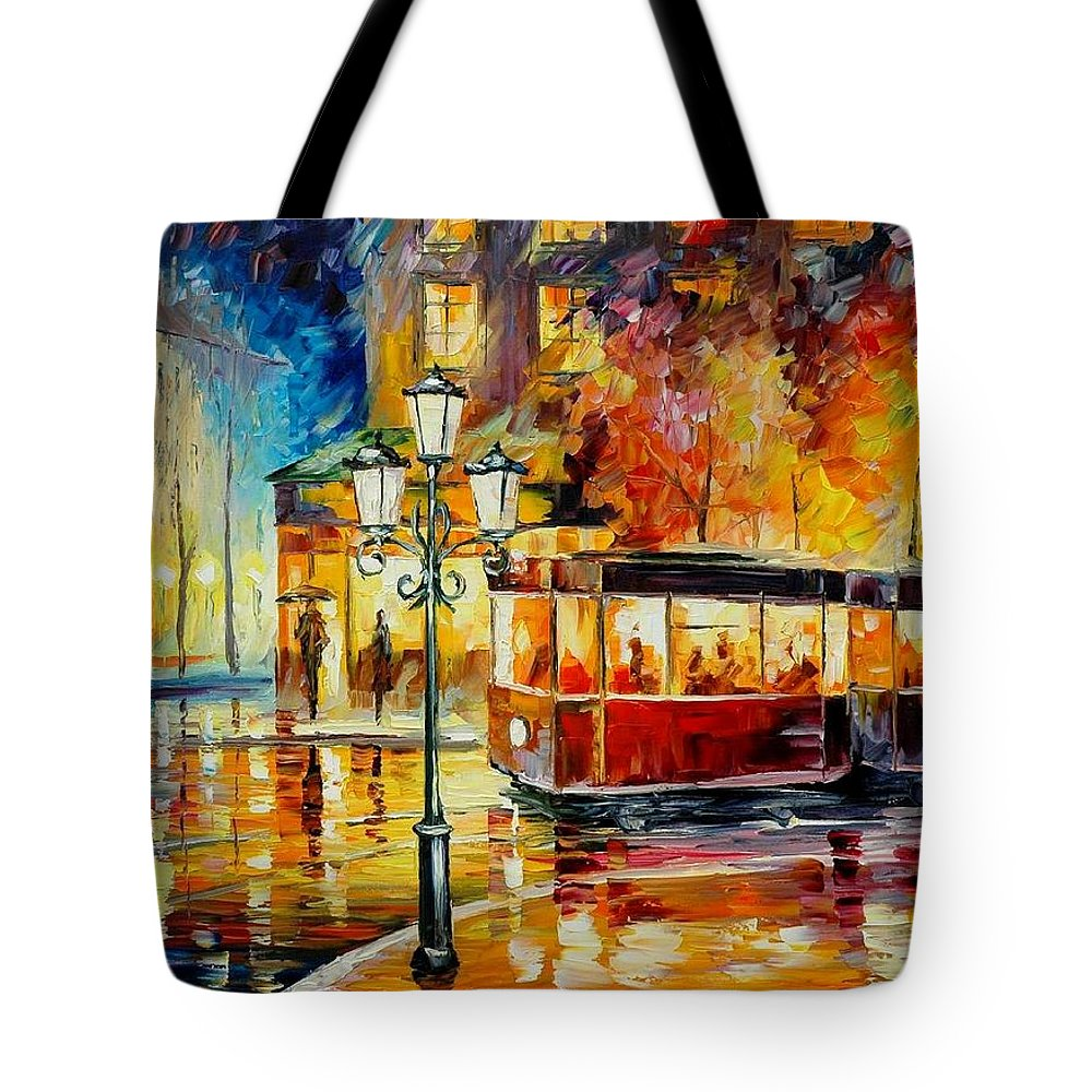 Afremov Tote Bag featuring the painting Night Trolley by Leonid Afremov
