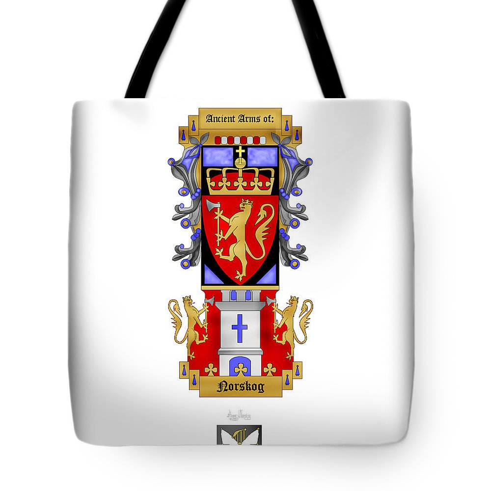 Norskog Coat Of Arms Tote Bag featuring the painting Norskog Coat Of Arms by Anne Norskog