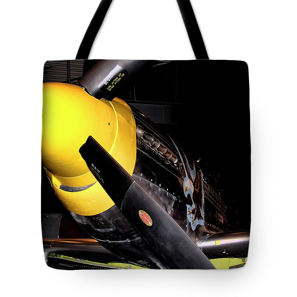 Fighter Tote Bag featuring the photograph North American P-51d Mustang by David Patterson