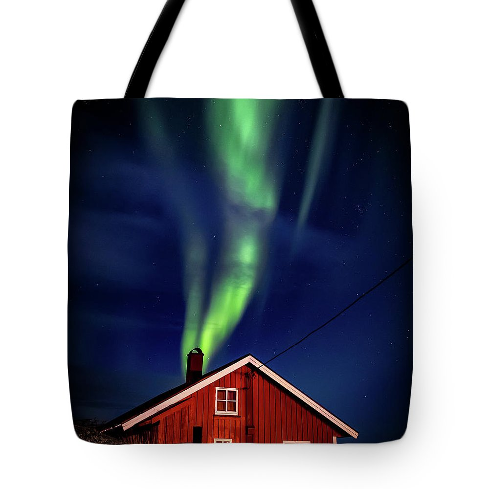 Hamnoy Tote Bag featuring the photograph Northern Lights Chimney by Brad Rempel