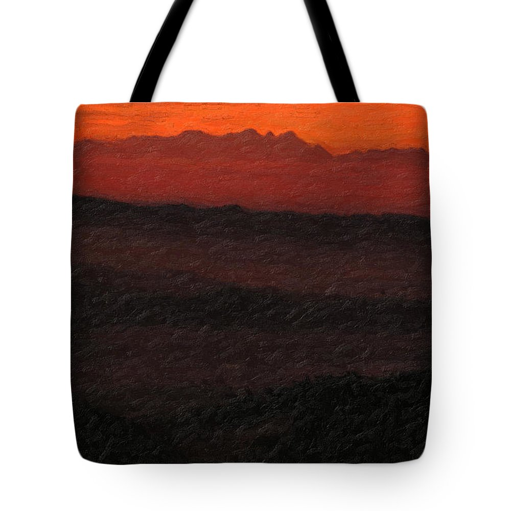 �not Quite Rothko� Collection By Serge Averbukh Tote Bag featuring the photograph Not Quite Rothko - Blood Red Skies by Serge Averbukh