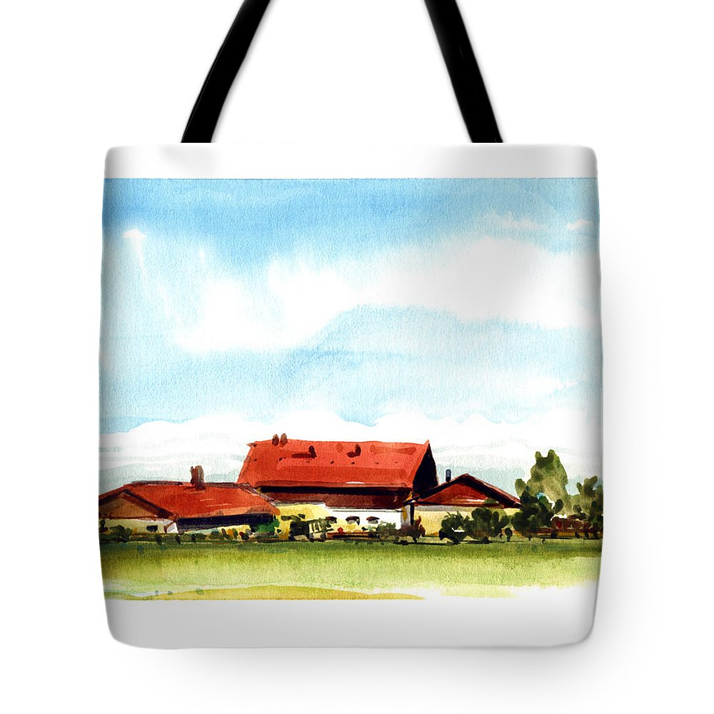 Bavarian Watercolor Landscape Tote Bag featuring the painting Oberendling Bavaria by James Higgins