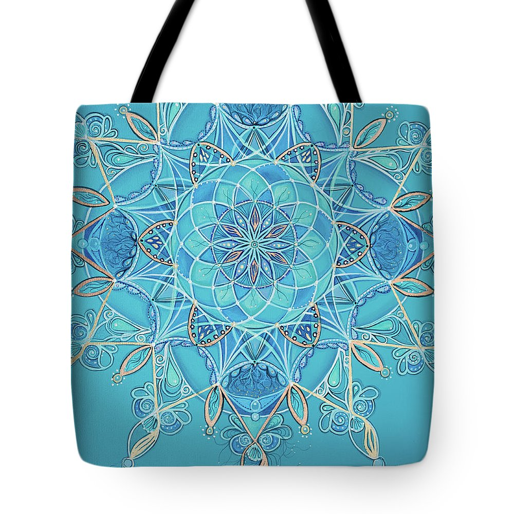 Teal Tote Bag featuring the painting Ocean Dreams by Angel Fritz