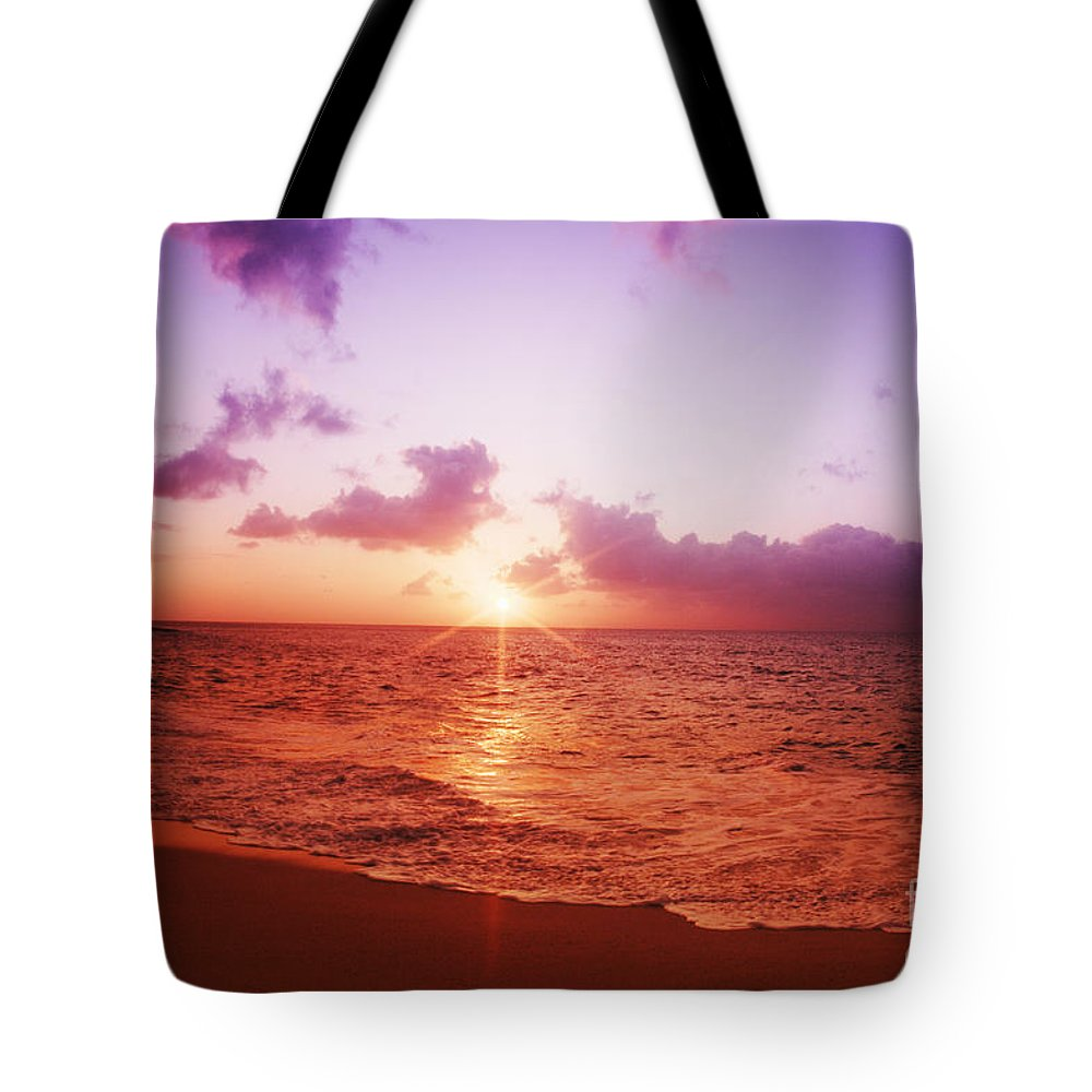 Beach Tote Bag featuring the photograph Ocean Sunset by Vince Cavataio - Printscapes
