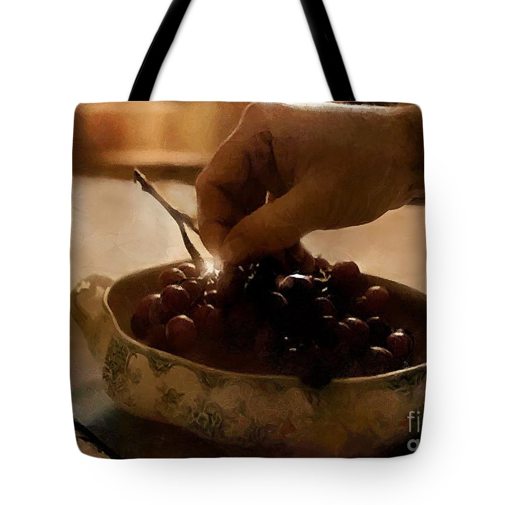 Antiques Tote Bag featuring the painting Oh Michael - Peel Me A Grape by RC DeWinter