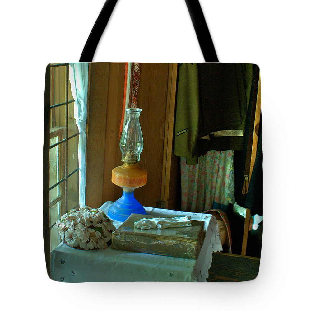 Oil Tote Bag featuring the photograph Oil Lamp And Bible by Douglas Barnett
