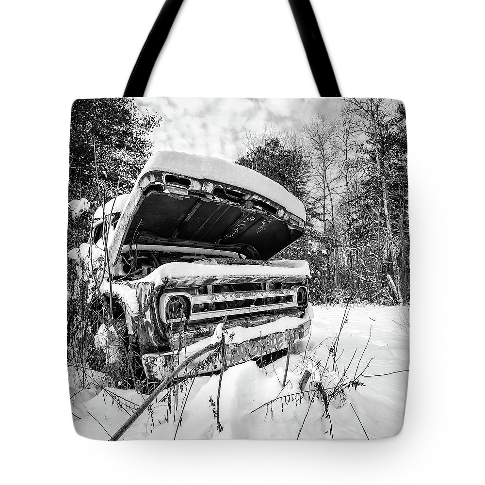 Newport Tote Bag featuring the photograph Old Abandoned Pickup Truck in the Snow by Edward Fielding