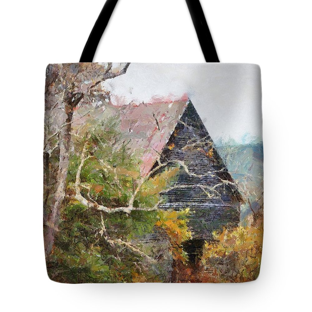 Landscape Tote Bag featuring the digital art Old Barn At Cades Cove by Todd Blanchard