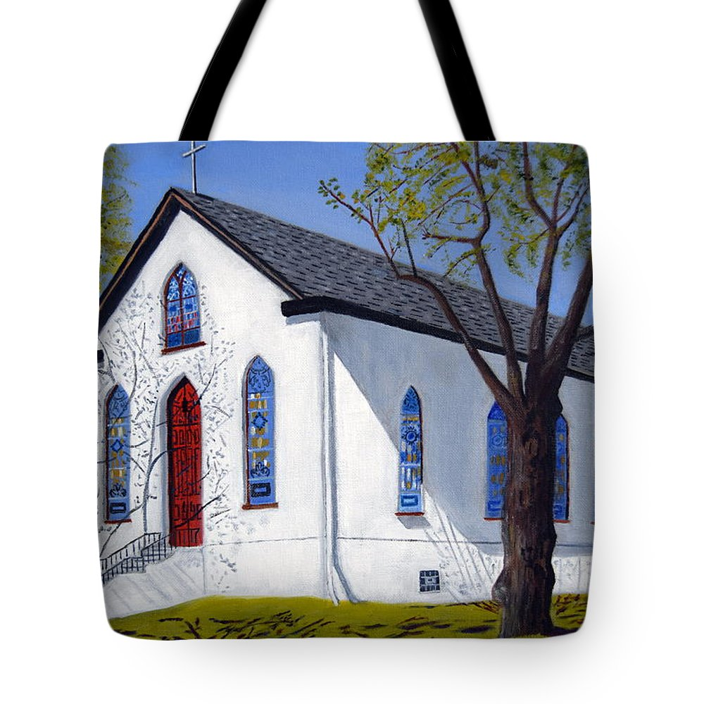 Old Bustleton Church Tote Bag featuring the painting Old Bustleton Church by Michael Walsh