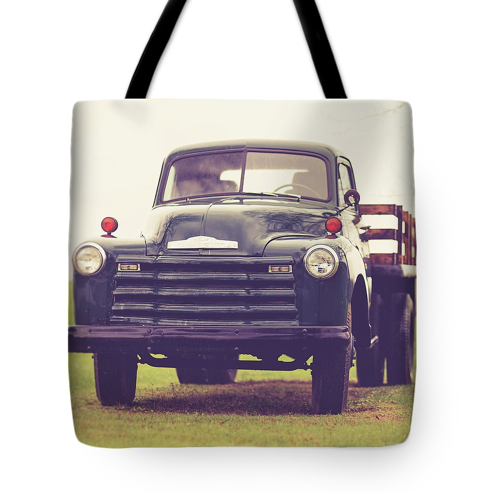 Truck Tote Bag featuring the photograph Old Chevy Farm Truck In Vermont Square by Edward Fielding