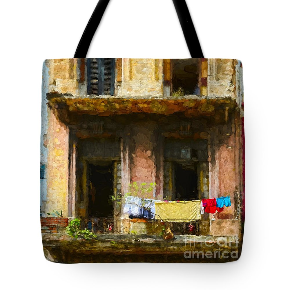 Cuba Tote Bag featuring the photograph Old Havana Building by Les Palenik