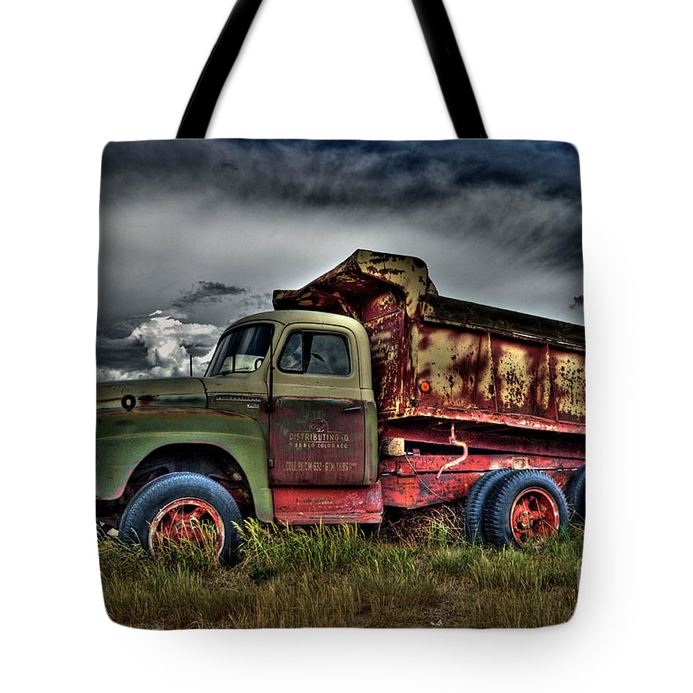 Truck Tote Bag featuring the photograph Old International by Tony Baca