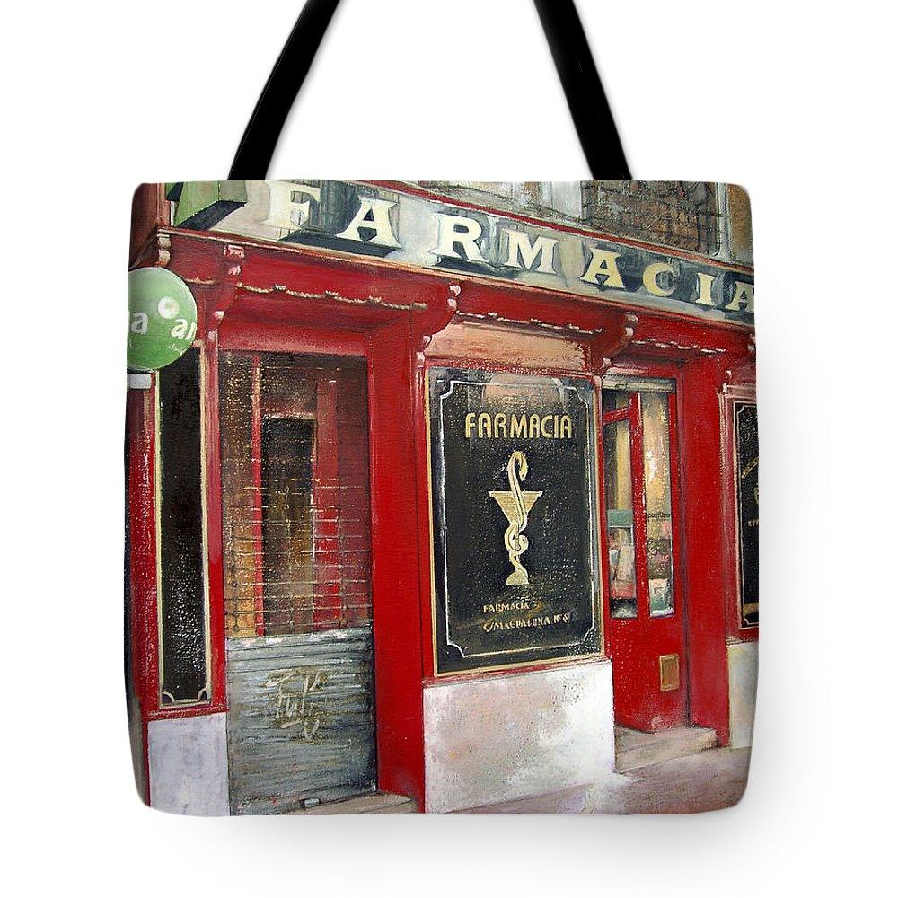 Farmacia Tote Bag featuring the painting Old Pharmacy by Tomas Castano