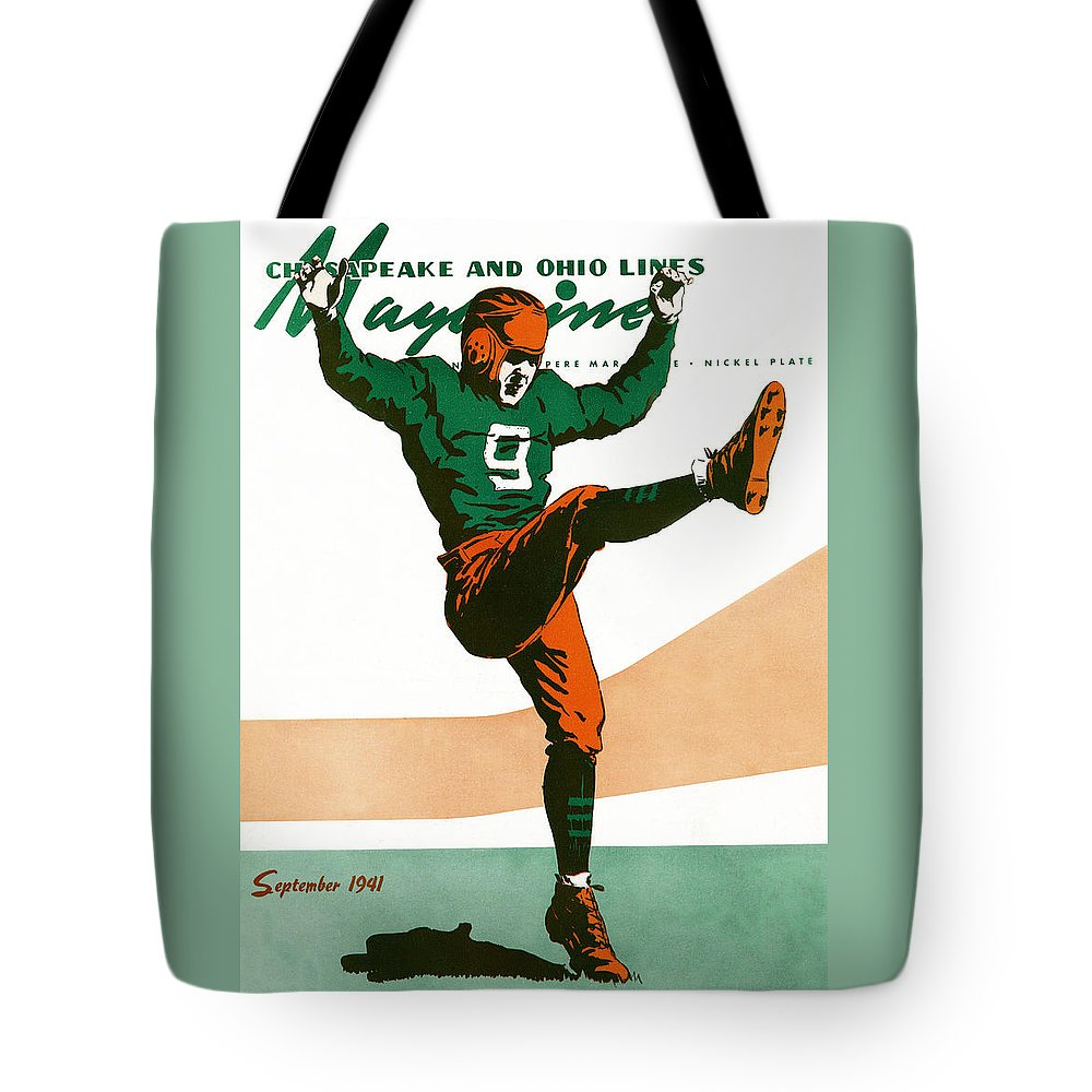 Football Tote Bag featuring the drawing On The Field by The Baltimore and Ohio Railroad