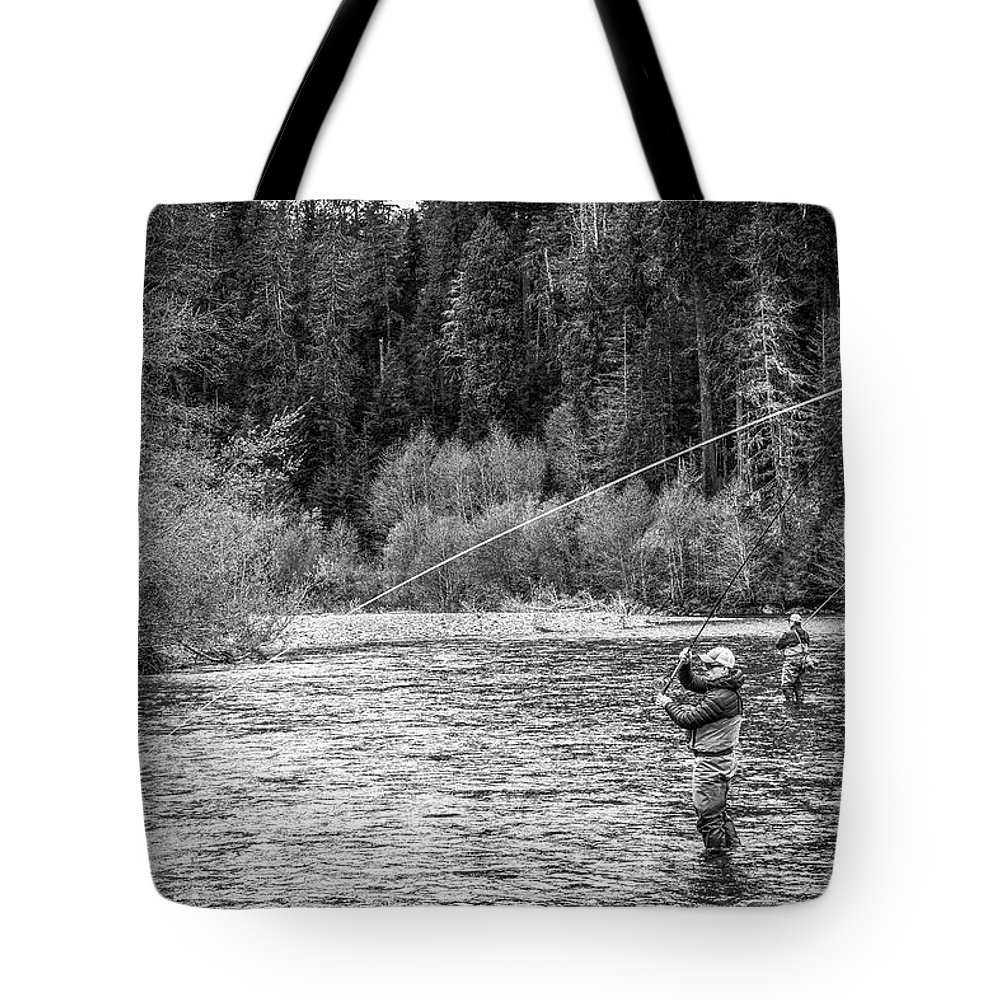 Flyfishing Tote Bag featuring the photograph On the River by Jason Brooks