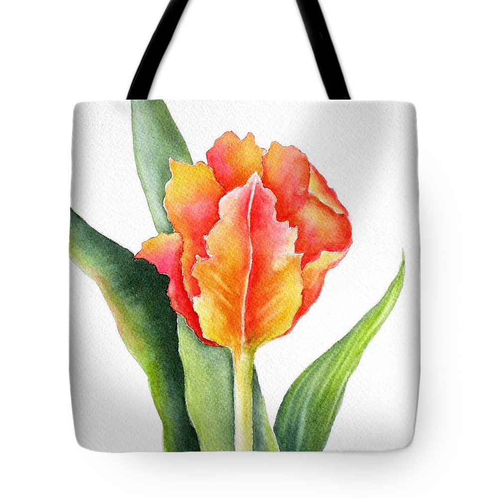 Tulip Tote Bag featuring the painting Orange Flame by Deborah Ronglien