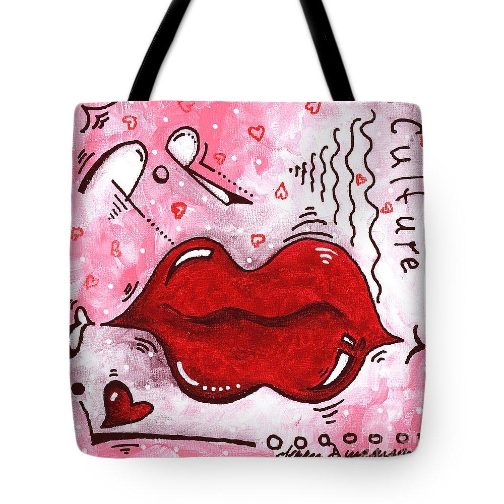 Original Mini Pop Art Lips Kiss Pop Culture Painting Kissable By Megan Duncanson Tote Bag For Sale By Megan Duncanson