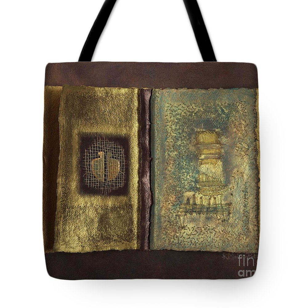 Artist-book Tote Bag featuring the mixed media Page Format No 1 Transitional Series by Kerryn Madsen-Pietsch