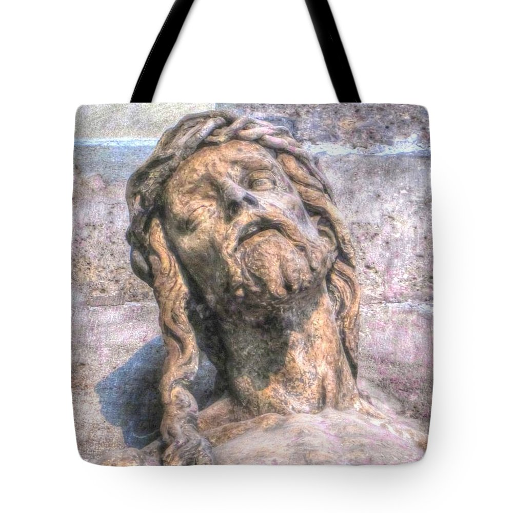 Pain Tote Bag featuring the pyrography Pain by Yury Bashkin