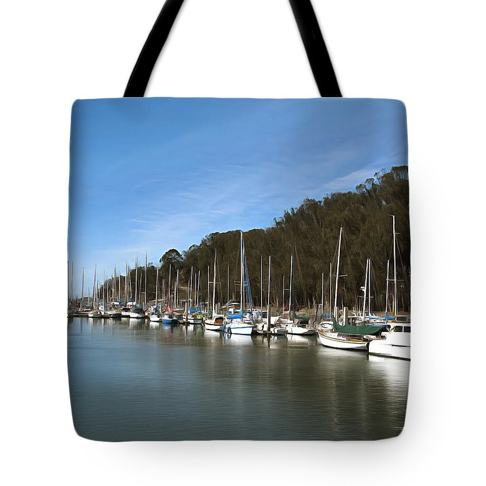 Marina Tote Bag featuring the photograph Painting Bay Side Harbor by Barbara Snyder