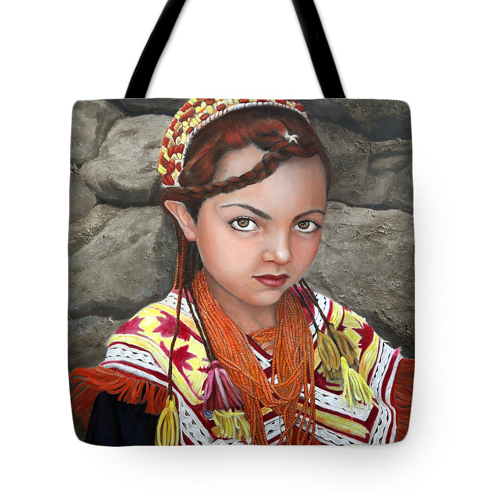 Figurative Art Tote Bag featuring the painting Pakistani Girl by Portraits By NC