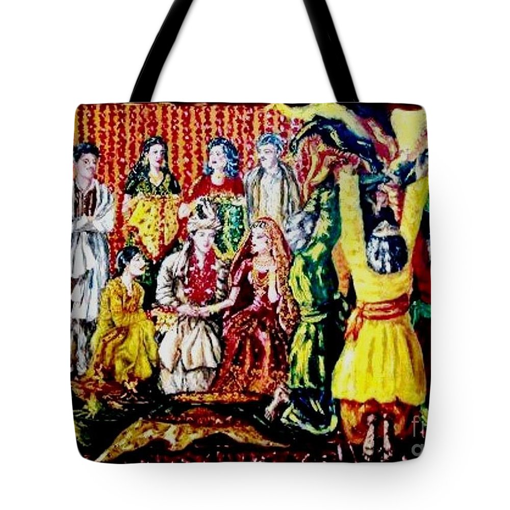 Oil Painting Tote Bag featuring the painting Pakistani Wedding by Fareeha Khawaja