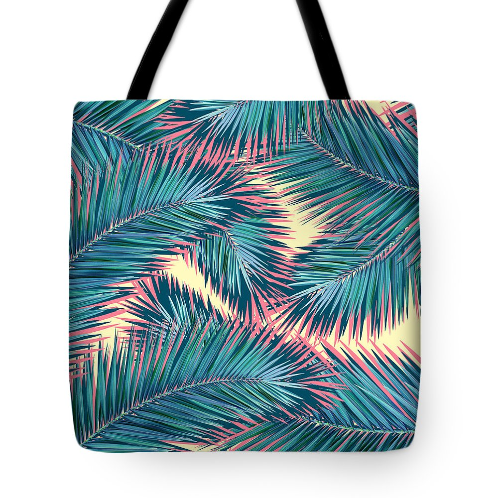 Summer Tote Bag featuring the digital art Palm Trees by Mark Ashkenazi