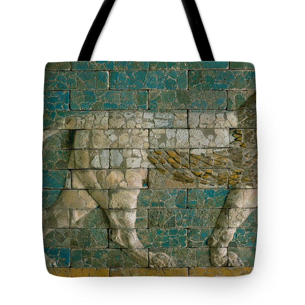 Lion Tote Bag featuring the ceramic art Panel With Striding Lion by Babylonian School