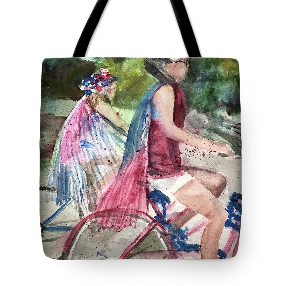 Parade Tote Bag featuring the painting Parade Cyclers by Judith Maculan
