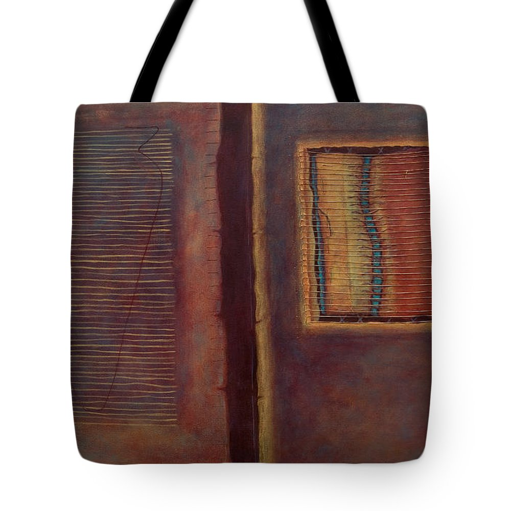 Connections Tote Bag featuring the painting Parallels by Kerryn Madsen-Pietsch