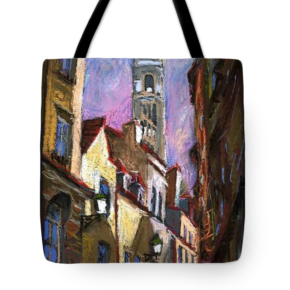 Pastel Tote Bag featuring the painting Paris Montmartre by Yuriy Shevchuk