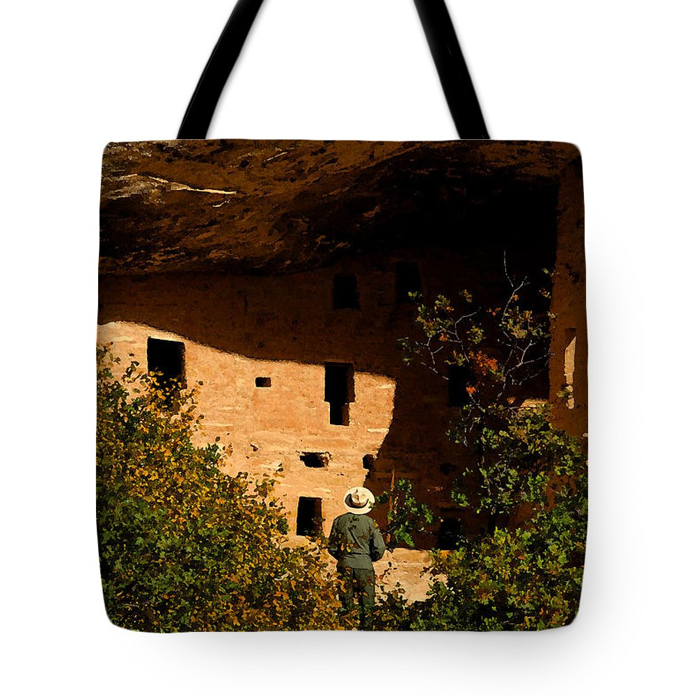 Mesa Verde National Park Colorado Tote Bag featuring the painting Park Ranger by David Lee Thompson
