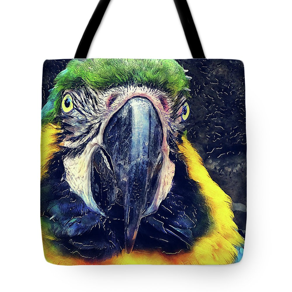 Ara Tote Bag featuring the digital art Parrot Art by Justyna JBJart