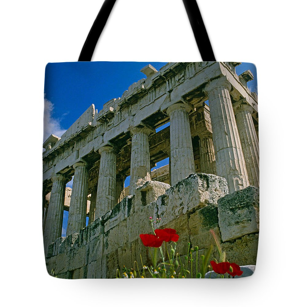 Greece Tote Bag featuring the photograph Parthenon With Poppies by Michele Burgess