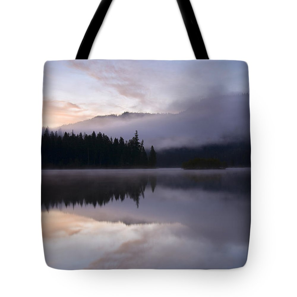 Fog Tote Bag featuring the photograph Pastel Dawn by Mike Dawson