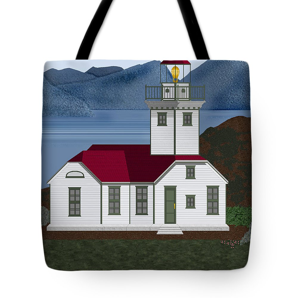 Patos Island Lighthouse Tote Bag featuring the painting Patos Island Lighthouse by Anne Norskog