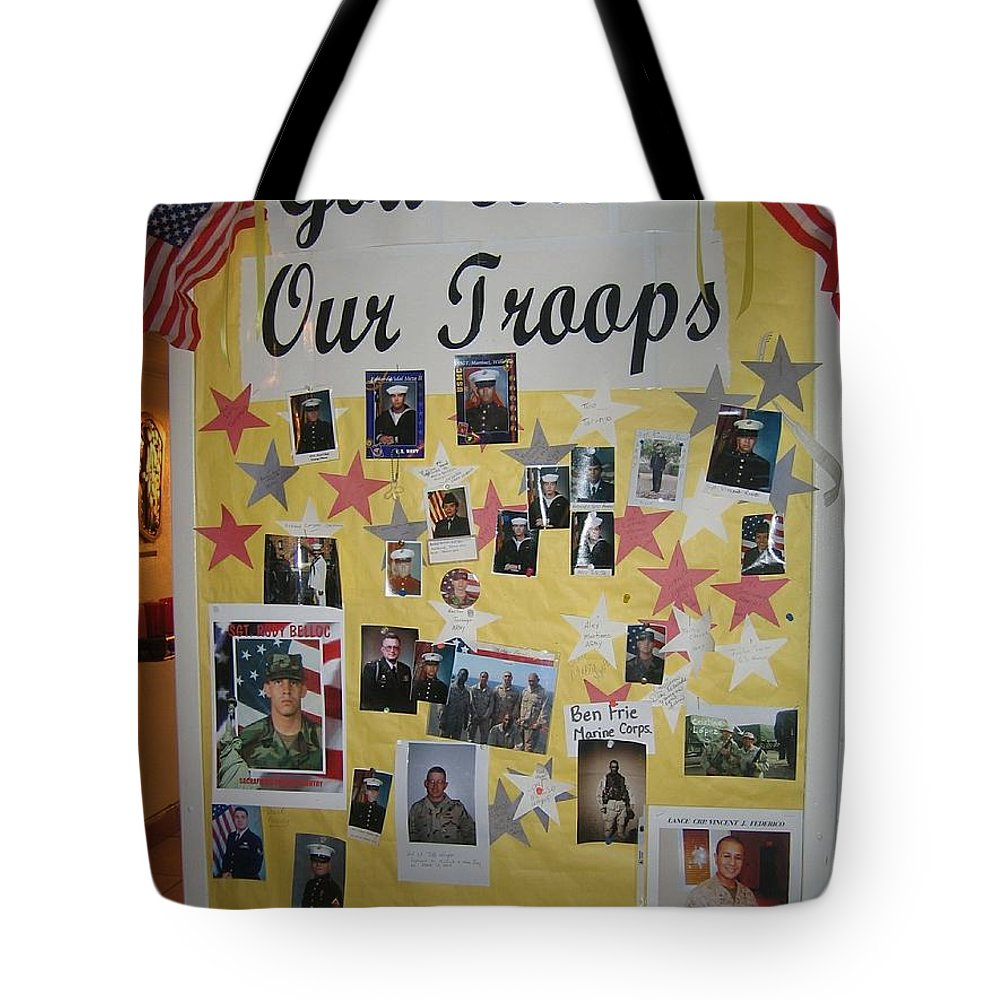 Patriotic Collage St. Helen Of The Cross Catholic Church Eloy Arizona 2004 Tote Bag featuring the photograph Patriotic Collage St. Helen Of The Cross Catholic Church Eloy Arizona 2004 by David Lee Guss
