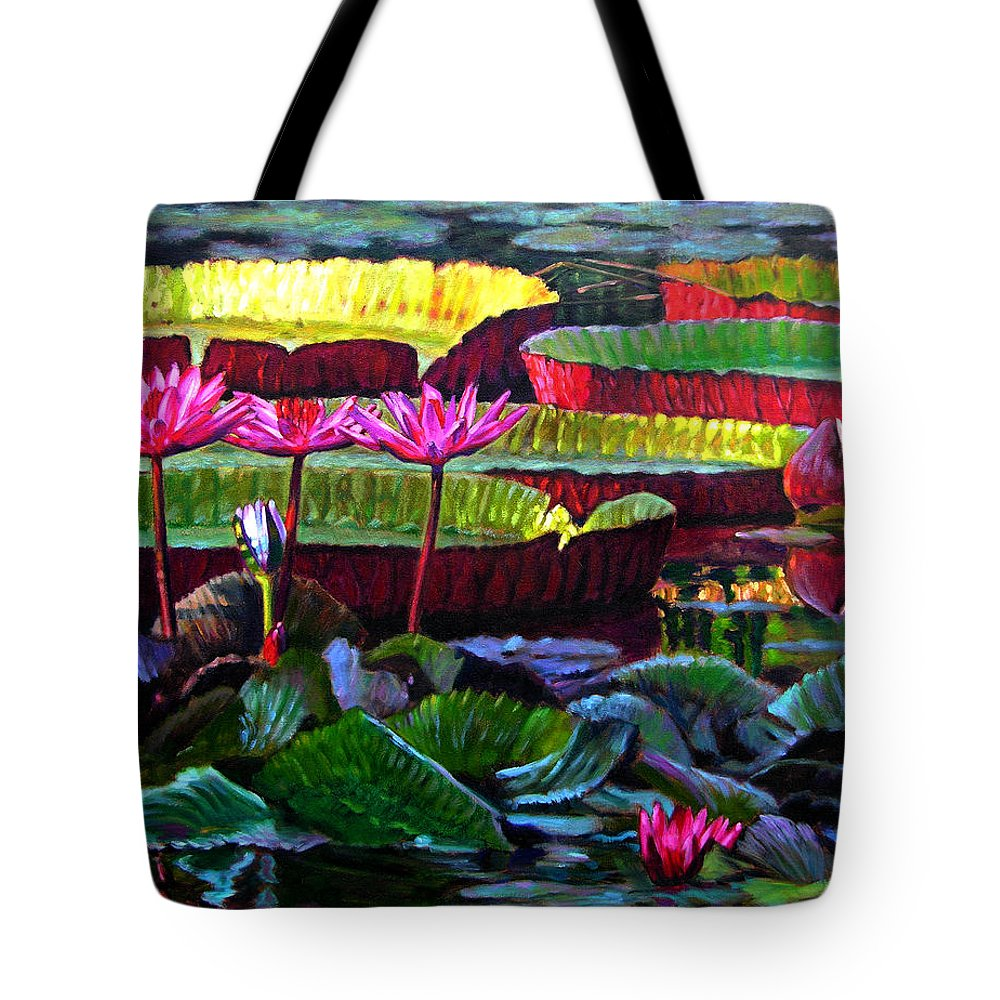 Water Lilies Tote Bag featuring the painting Patterns Of Color And Light by John Lautermilch