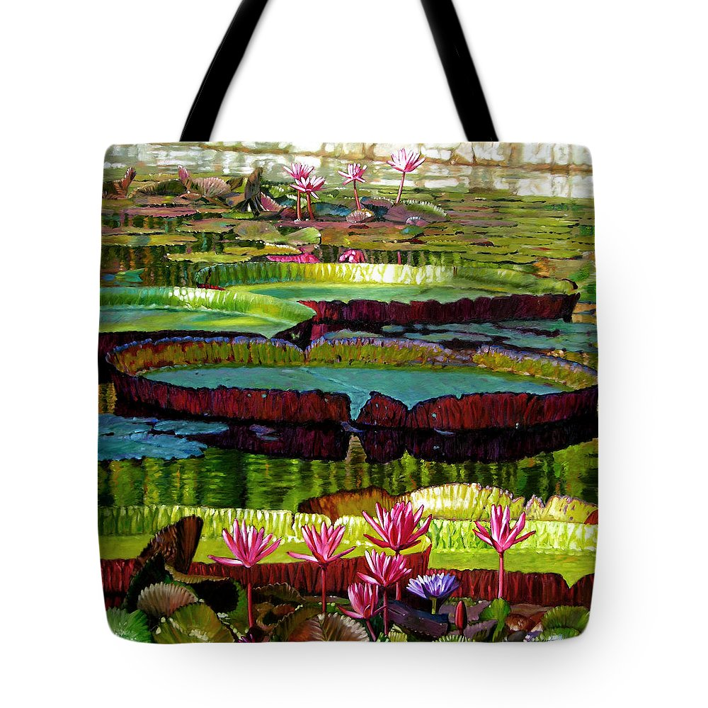 Landscape Tote Bag featuring the painting Patterns Of Shadow And Sunlight by John Lautermilch