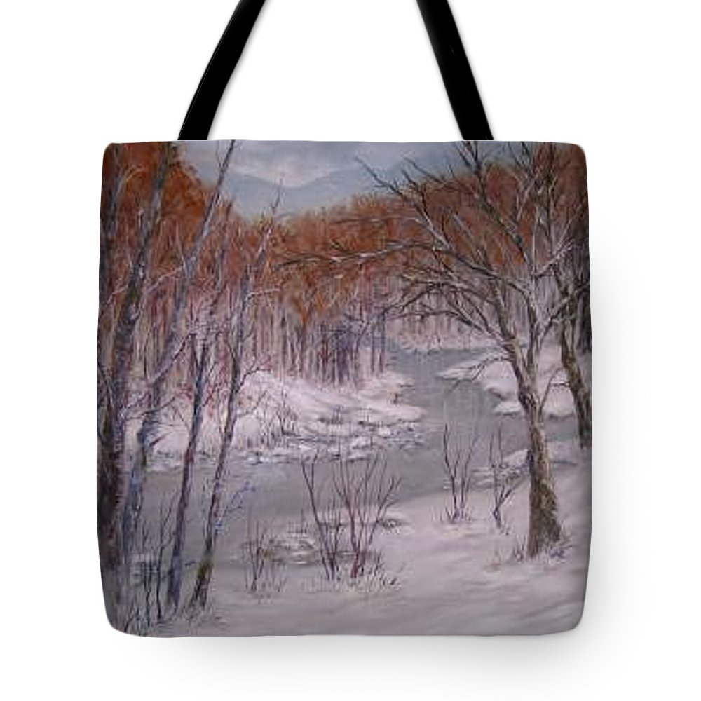 Snow; Landscape Tote Bag featuring the painting Peace And Quiet by Ben Kiger