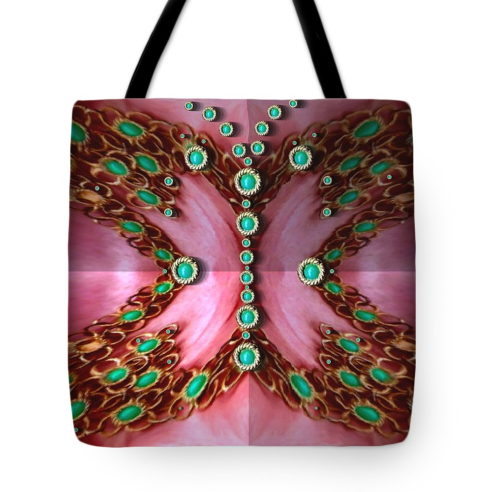 Butterflie Tote Bag featuring the mixed media Pearls Dedicated To The Nature by Pepita Selles