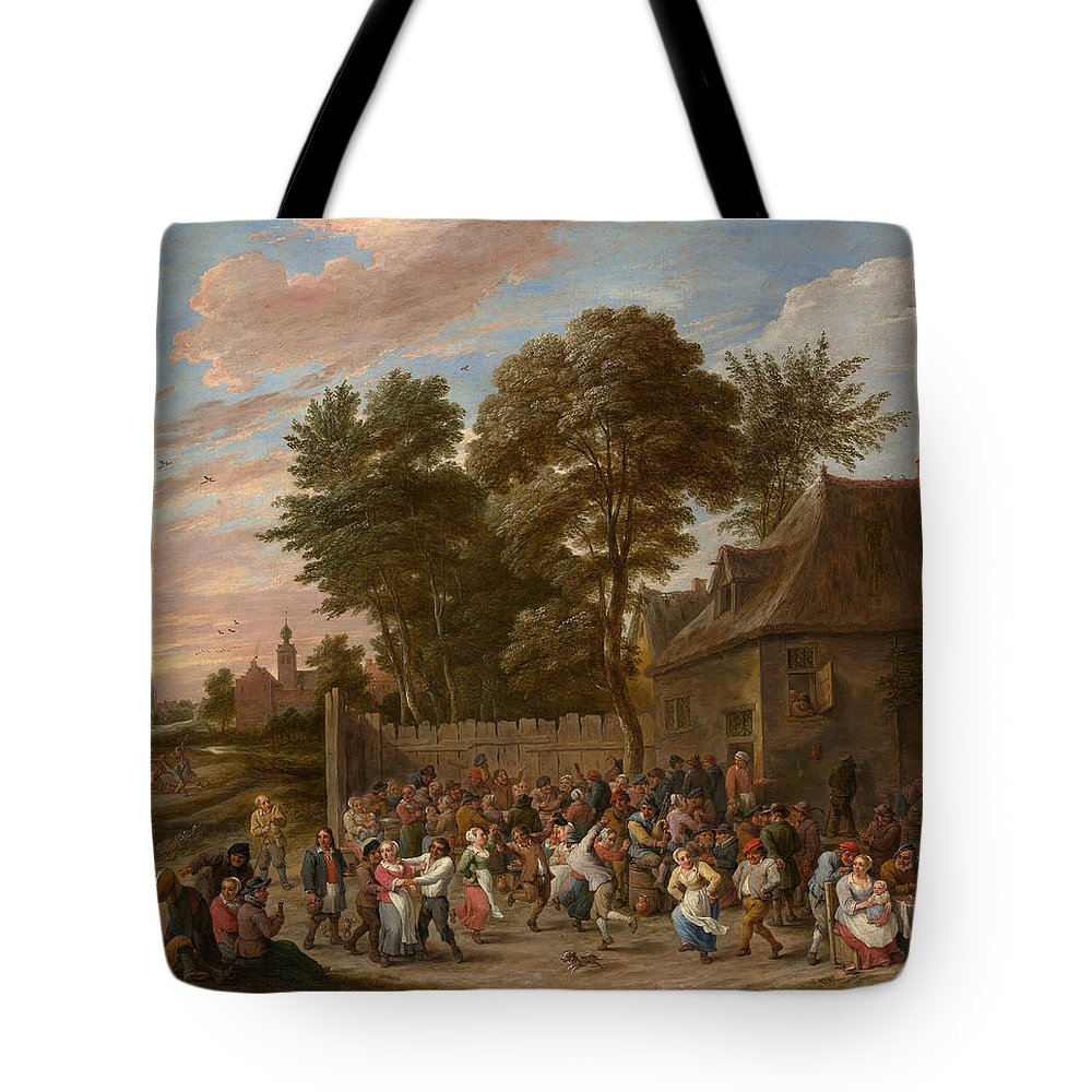 Animal Tote Bag featuring the painting Peasants Dancing And Feasting by David Teniers the Younger