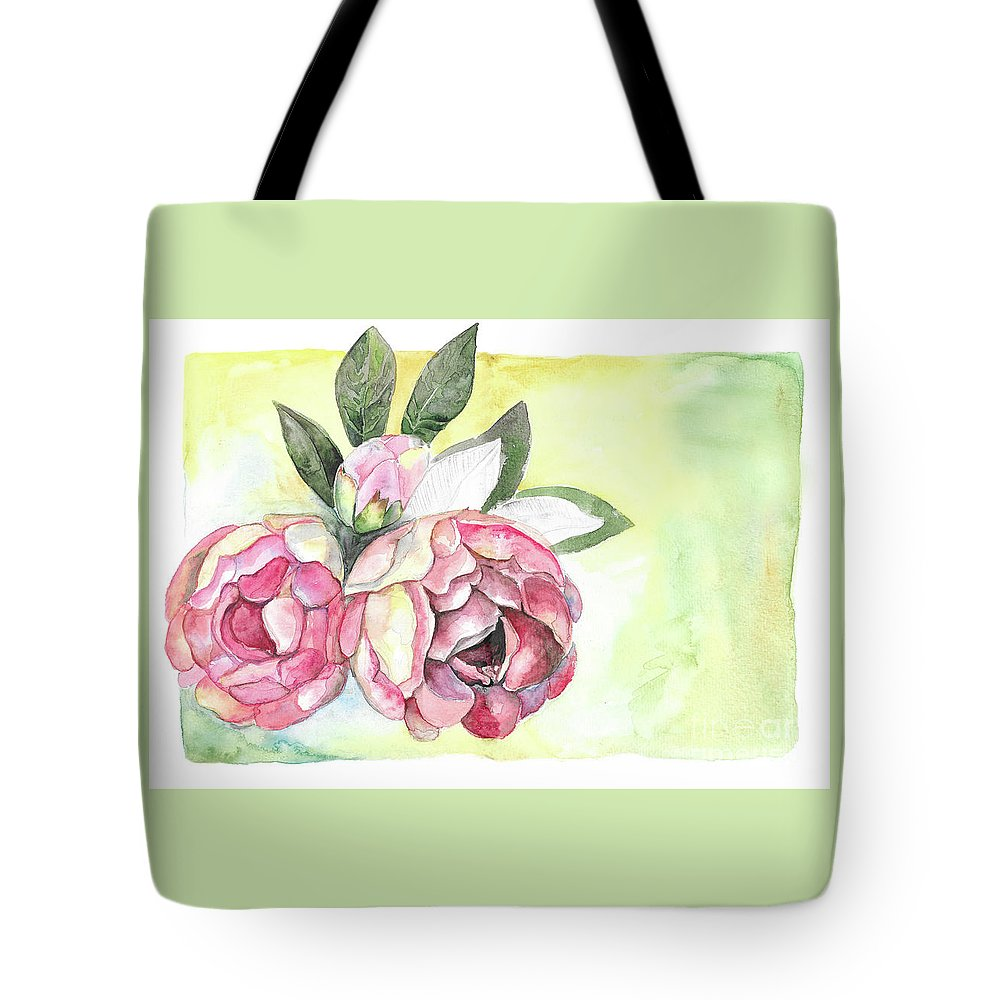 Peonies Tote Bag featuring the painting Peonies by Yana Sadykova