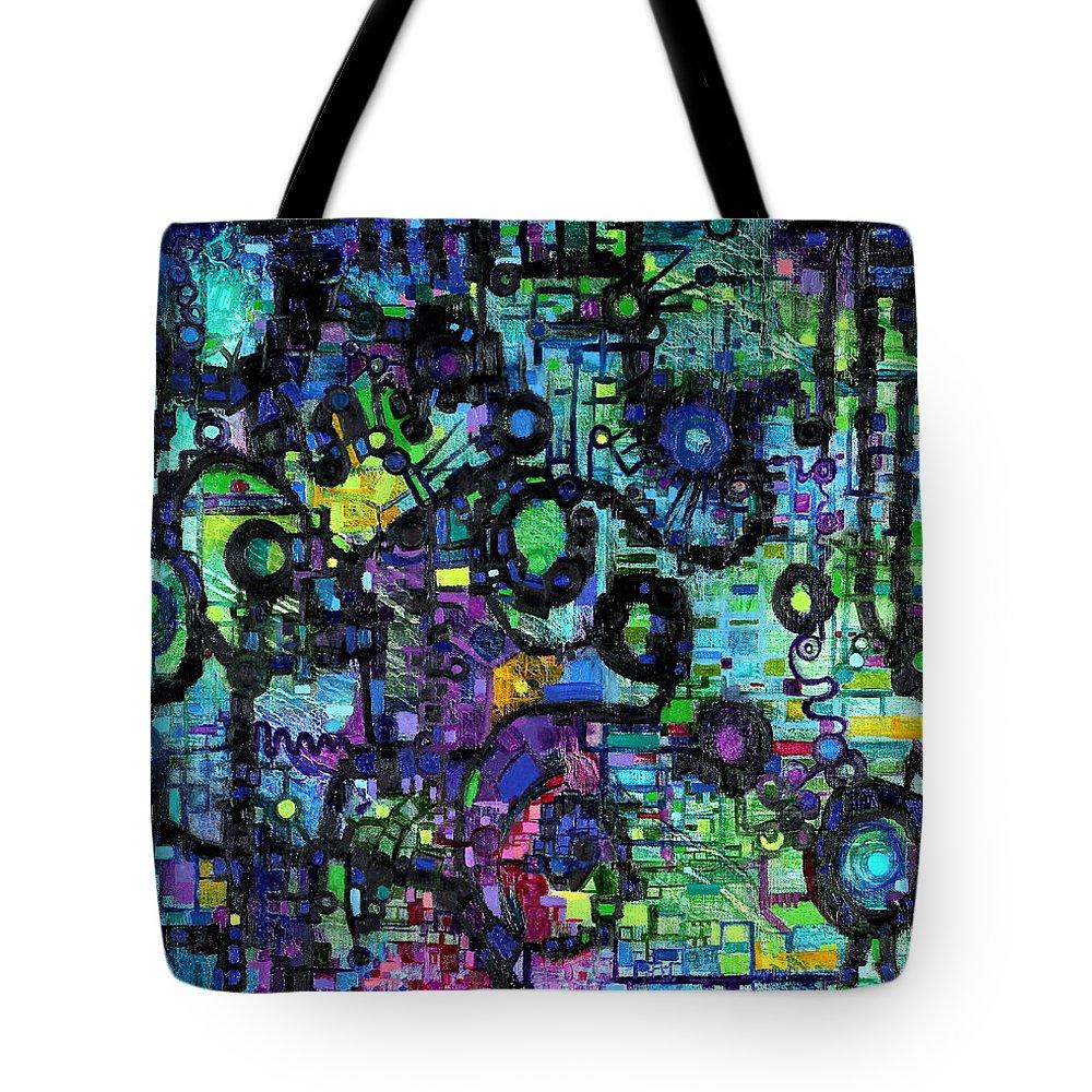 Percolation Tote Bag featuring the painting Percolation On A Lattice by Regina Valluzzi