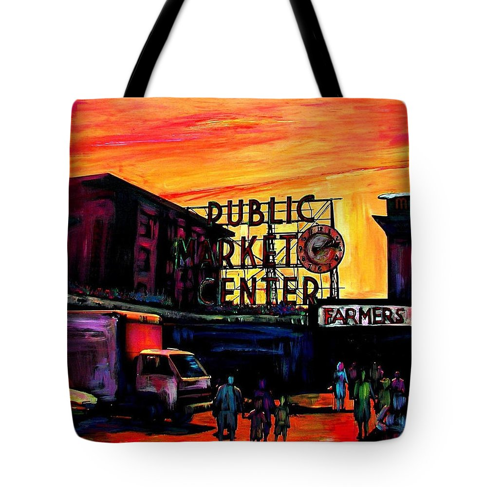 Tote Bag featuring the mixed media Pike Place by Sarah Ghanooni