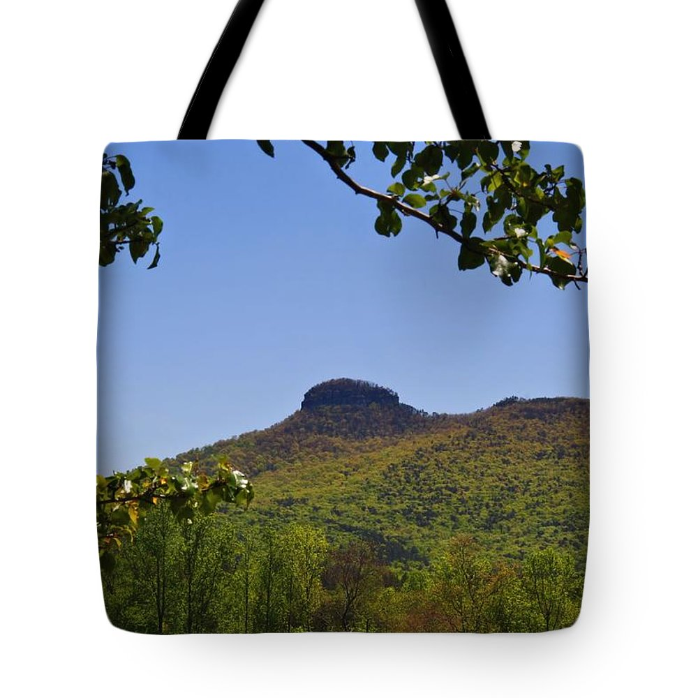 Pilot Mountain Tote Bag featuring the photograph Pilot Mountain In Spring Green by Kathryn Meyer